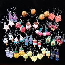 Brincos de comida, brincos fofos para doces fantasia estilo moderno feminino menina joias drop shipping