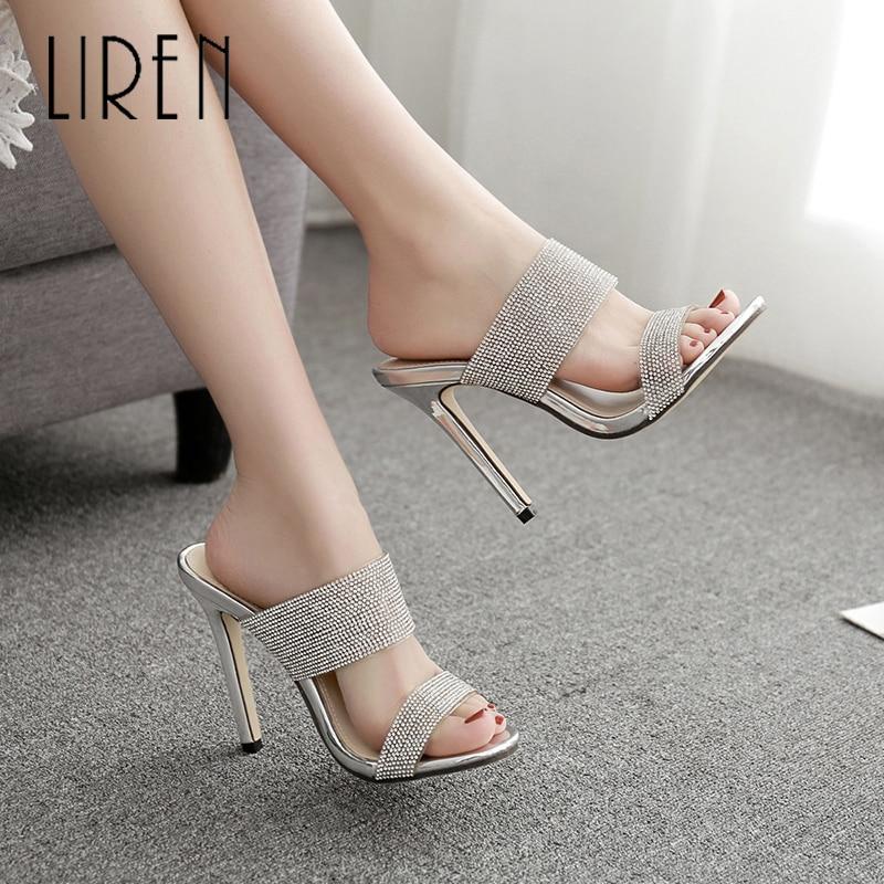 Liren 2019 PVC Women Fashion Sexy Sandals Slip-on Pointed Open Toe High Thin Heels Lady Slingback