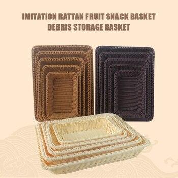 Cesta de ratán para pan de imitación, cesta de almacenamiento para supermercado, cesta de exhibición, plato de aperitivos de frutas, cesta de almacenamiento de mimbre tejida
