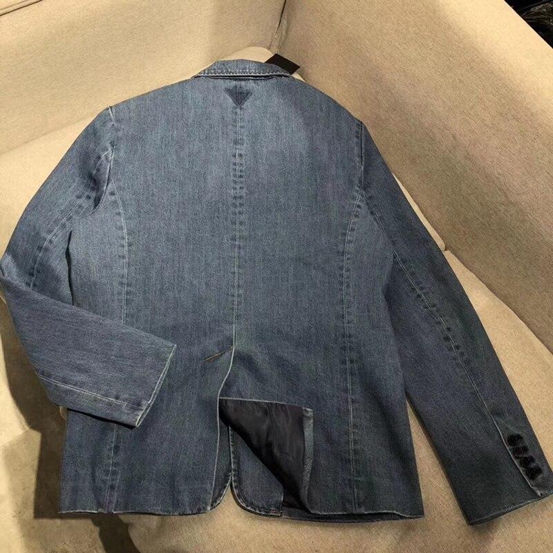Solido Giubbotti jeans Cappotto Manica Lunga da Donna Vintage Giacca di Jeans Autunno Del Cappotto Del denim Jean - 2