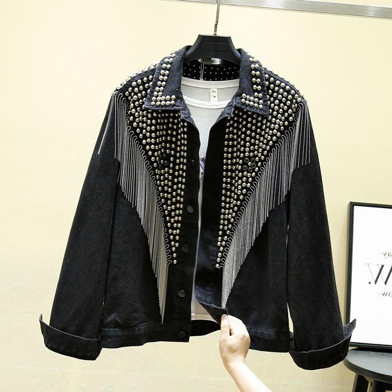 2019 Autumn Denim Jacket Coat Women Rivet Tassel Chain Short Coats Woman Loose Streetwear Long Sleeve Black Coats Outerwear