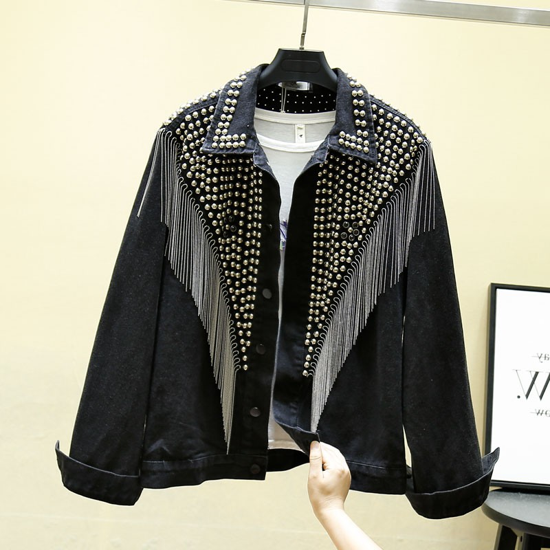 2020 Autumn Denim Jacket Coat Women Rivet Tassel Chain Short Coats Woman Loose Streetwear Long Sleeve Black Coats Outerwear