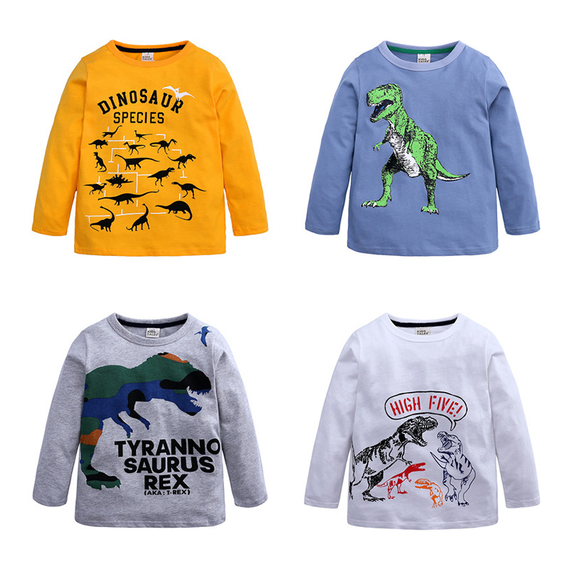 Boys T-shirt Kids <font><b>Dinosaur</b></font> <font><b>Tshirt</b></font> Toddler Children Top Patchwork Tee Long Sleeve Spring Autumn Fall 18m to 6 Years image