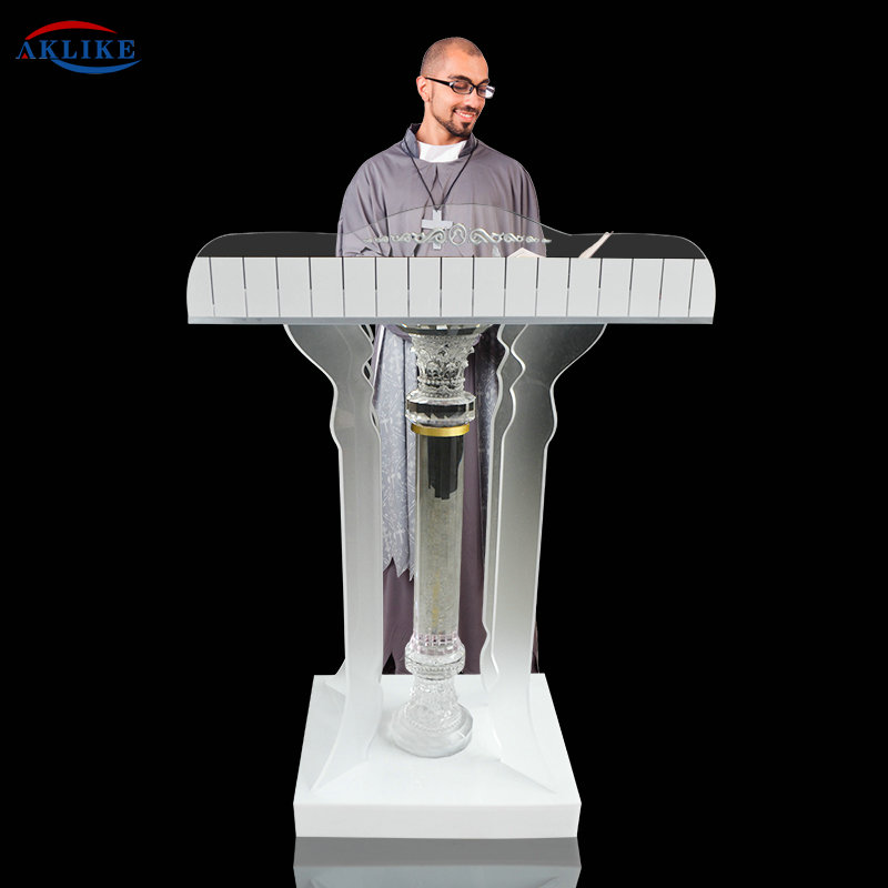 Acrylic Crystal Column Pulpit,AKLIKE Podium, Church Interior, Stained Glass, Pillars, Supports, Columns, Religion Jesus
