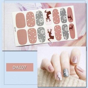 Image 5 - 14tips/sheet Colorful Shinny Full Nail Art Tips DIY Adhesive Wraps Waterproof Nail Stickers Decorations Manicure Drop Shipping