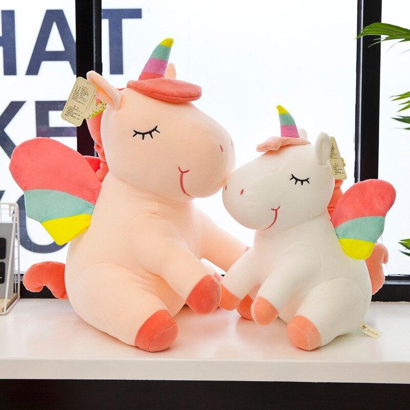 Bonito unicornio arcoíris de peluche, unicornio suave de alta calidad, juguete relleno de animales, almohada para dormir para bebé, regalo de cumpleaños para niños Cortina de unicornio rosa para habitación de Chico, estampado de unicornio de dibujos animados, tul para habitación de niña, estampado de arco iris, cortinas de tul para niño M173 # NT
