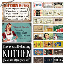 Signo de Metal de cocina placa de Metal cartel de hojalata vintage Retro Cocina signos casa comedor Pared de habitación decoración signos de Metal