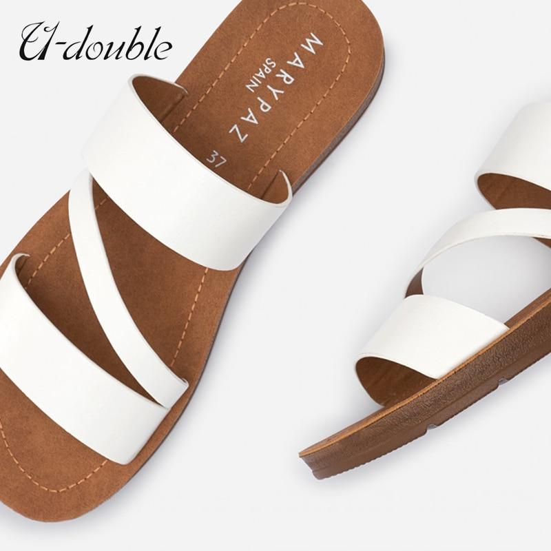 U-DOUBLE Летняя женская повседневная обувь Шлепанцы в римском стиле на широком каблуке в стиле «Ретро»; Туфли с открытым носком женские сандали...