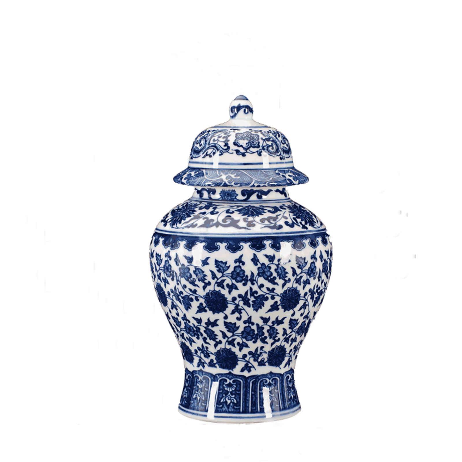 FREE SHIPPING Chinese Antique Ceramic Qing Qianlong Mark Blue And White Porcelain Ginger Jar Temple Jar Vase with Lid