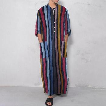 Moroccan Caftan 2021 Mens Arabic Muslim Dresses Long Abaya Kaftan Islamic Fashion Stripe Patchwork Shirts Ethnic Men's Clothing Dress 1