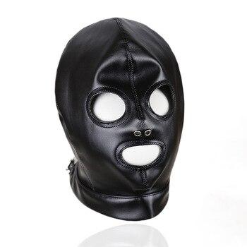 Black Blindfold Sex Toys for Couples Leather Halloween Eye Mask Gay Fetish Masks Games Performance Bdsm Sex Bondage Restraints цена 2017
