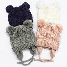 Children Hat Bonnet Beanie Pompom Knitted Ears Plush Girls Winter Warm Cute Soft Solid
