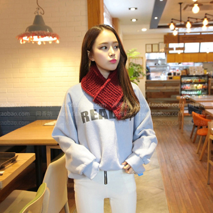 Autumn And Winter New Style South Korea Chunky Yarn Soft Girl Little Scarf Thick Winter Warm Women's Knitted Yarn Scarf
