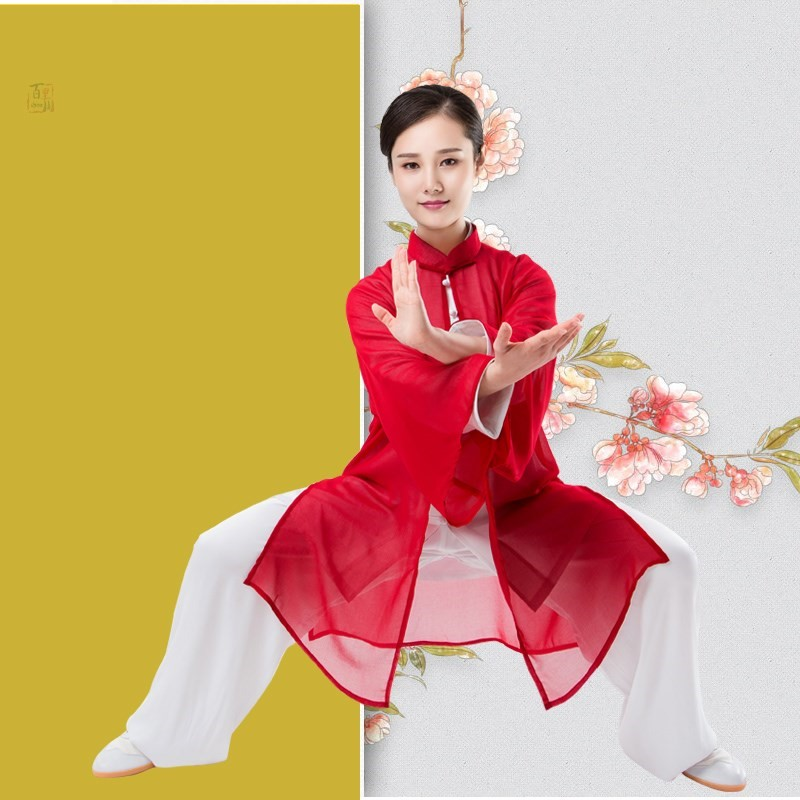 2019 Jiu Jitsu Wushu Kung Fu Uniform Tai Chi Suit Leisure Shawls Single Shawls Elegant Gradient Taiji Clothes For Men And Women