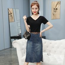 Summer New Womens Skirts Two Piece Sets Short Sleeve V-Neck Black Pullover T-Shirts Sashes Knee Length Denim A-Line Skirts(China)