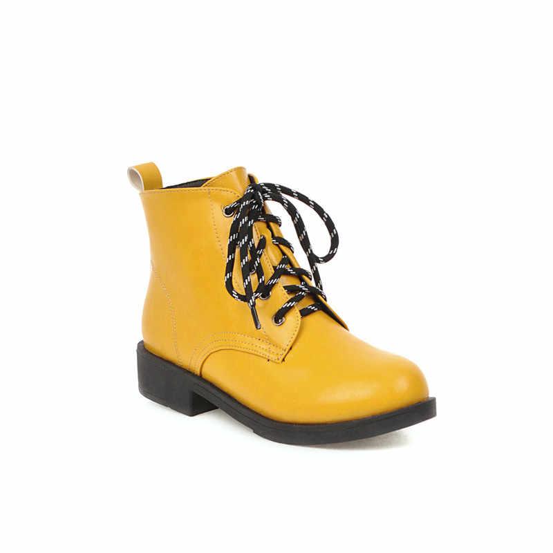 MORAZORA 2020 toptan büyük boy 43 kadın yarım çizmeler yuvarlak ayak lace up sonbahar kış botları moda basit rahat ayakkabılar bayanlar