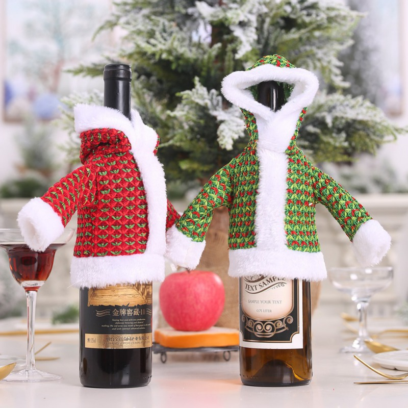 Plush Sweater Wine Bottle Cover Christmas Hoodies Wine Bottle Bags Festival Dinner Table Decoration