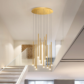 Modern staircase chandelier can be used for Nordic villa living room rotating stairwell gold / black LED hanging lights 90-260V modern simple duplex staircase led bubble column living room chandelier rotating villa ceiling crystal column led crystal lights