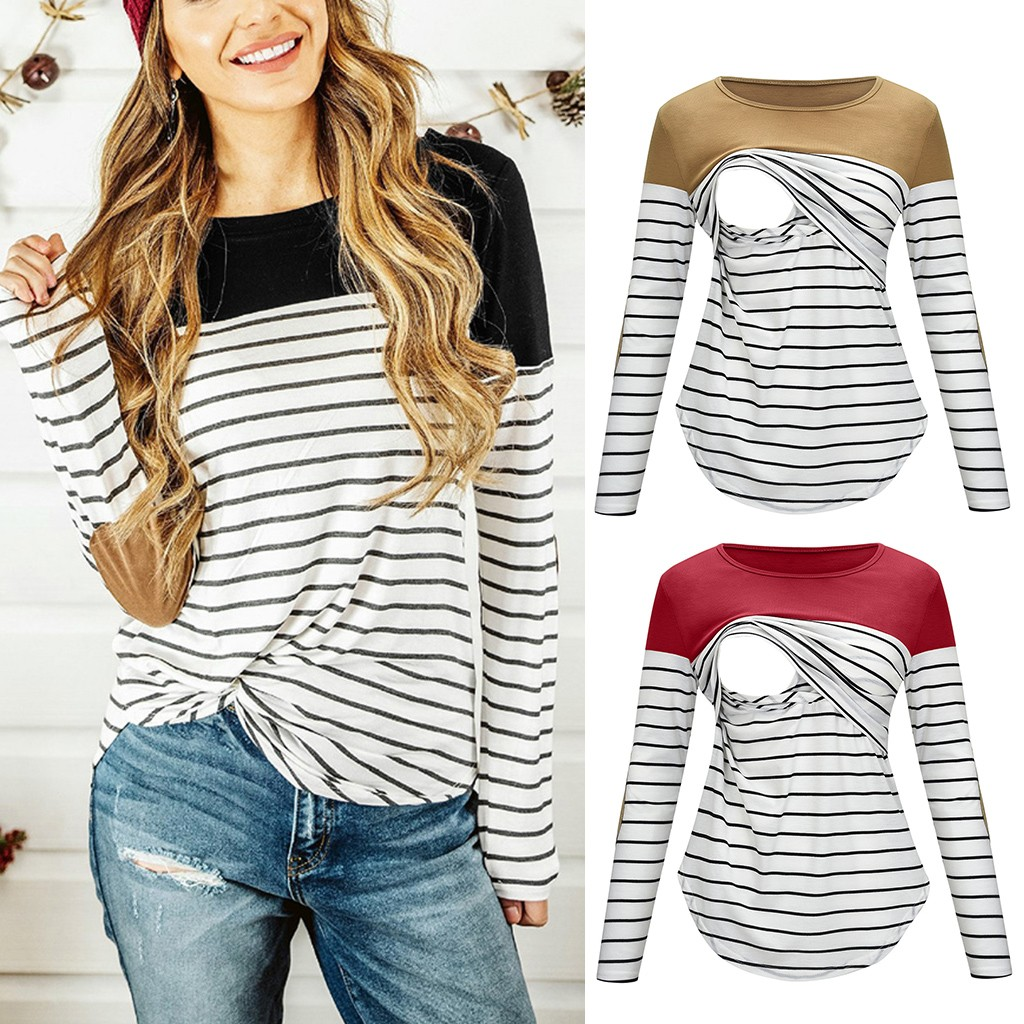 2019 New Women Maternity Pregnant Long Sleeve Striped Nursing Tops T-shirt For Breastfeeding Ropa De Mujer Clothes Blouse Mom