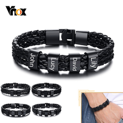 Vnox Personalize Family Name Bracelets for Men Black Layered Braided Leather with Stainless Steel Charms Custom Christmas Gift