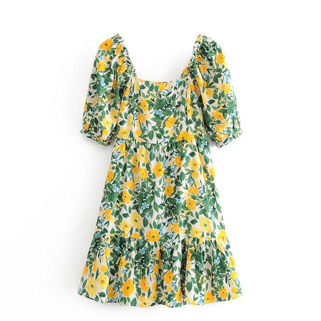 YNZZU Floral Print Cotton Summer Dress Women 2020 New Square Collar Short Sleeve Ruffles Female Short Beach Sundress AD513