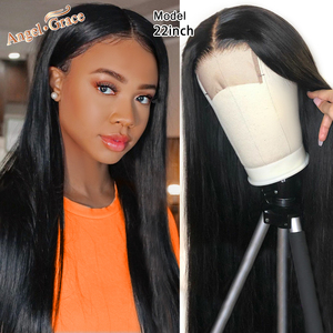 Angel Grace 4X4 Closure Wig Brazilian Straight Lace Front Human Hair Wigs for Women Lace Closure Wig Pre Plucked With Baby Hair(China)