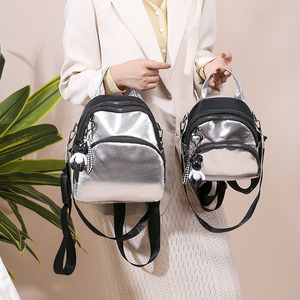 Image 2 - Women Mini Silver Backpack School Bags PU Leather Bag Female Silver Backpacks Teenage Girls Shoulder Bags Rivets Mochila XA462H