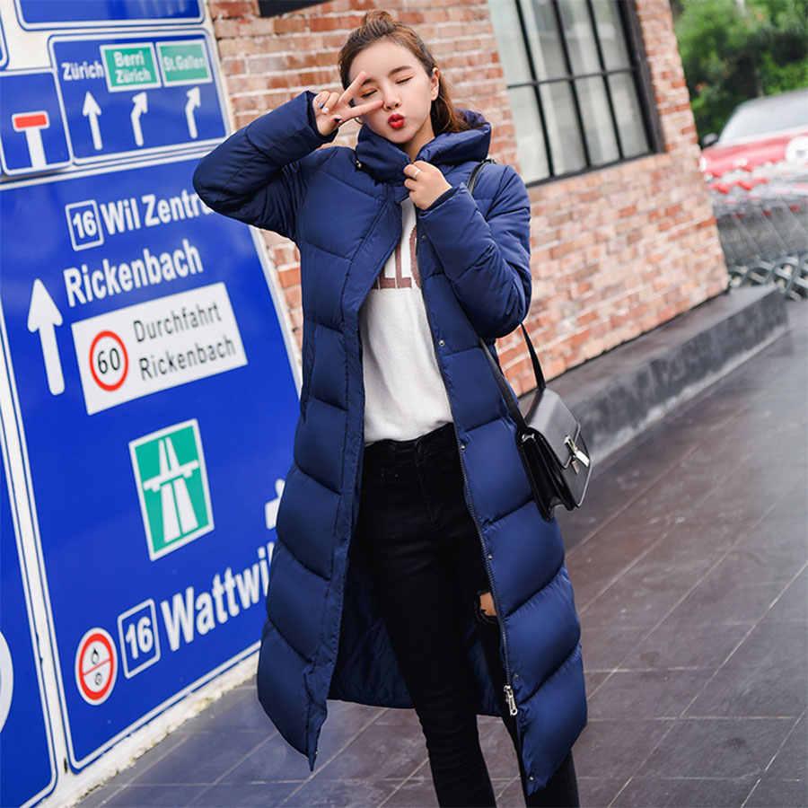 החורף ארוך סלעית למטה מעיל נשים מקרית לעבות למטה מעיל נקבה Slim שרוול אלסטי המשאף מעילים משרד ליידי רוכסן Windproof