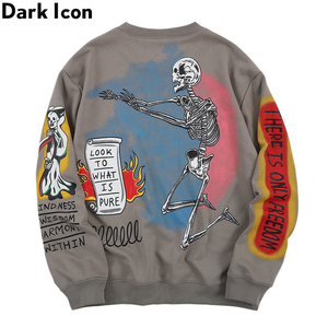Image 2 - Dark Icon Skeleton Hip Hop Sweatshirt Men Round Neck Pullover Mens Sweatshirts 2019 Autumn Streetwear Sweatshirt for Men