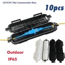 Boîte de protection de câble de fibre optique, 10 pièces, avec adaptateur type extérieur, étanche