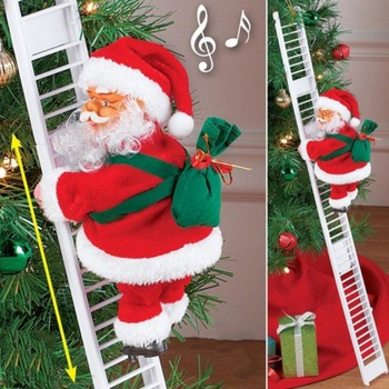 Funny Christmas Electric Santa Climb Ladder Hanging Decoration Christmas Tree Ornaments Santa Moving Climb Ladder Party Kid Gift image