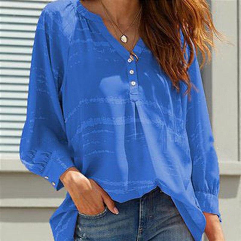Elegant Women Blouse Shirt Fashion Office Work Blouse Top Ladies Deep V-neck Long-sleeved Loose Casual Shirt Female Clothing