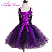 все цены на Purple Black Girls Witch Tutu Dress Handmade Tulle Halloween Costume Carnival Cosplay Party Photo Dress онлайн