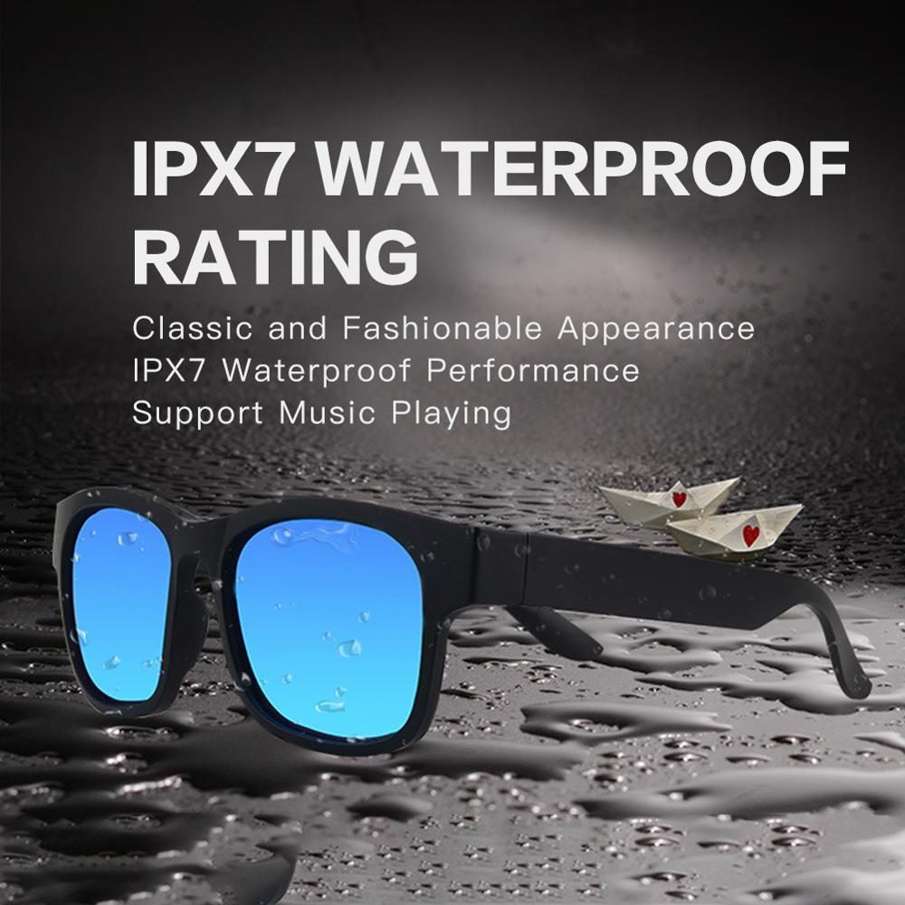 New 5.0 Bluetooth Headset Smart Wireless Headphone Stereo Outdoor Waterproof Speaker Sunglasses 200mA Battery 150 Hour Standby