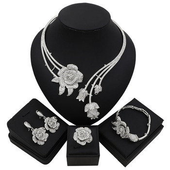 Abstract Flower Pendant Pattern Rhinestone Jewelry Set