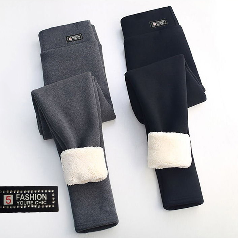 Winter Warm Thick Cashmere Pants Leggings High Waist Stretchy Soft for Outdoor Women SSA-19ING