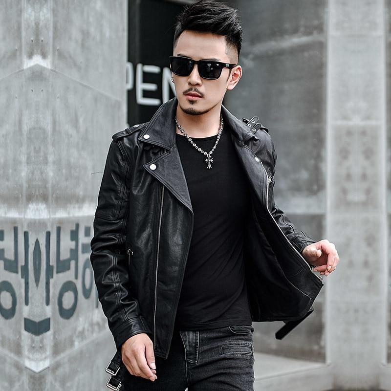 100 Real Sheepskin Coat Men Autumn Spring Jacket Man Clothes 2020 Streetwear Moto Biker Genuine Leather Jacket Outwear 15