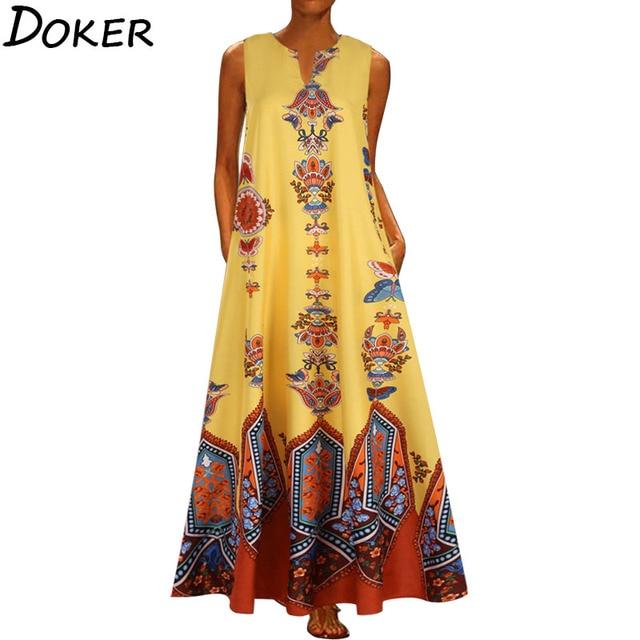 2020 Floral Print Boho Casual Long V-neck Off Shoulder  Maxi Dress  1
