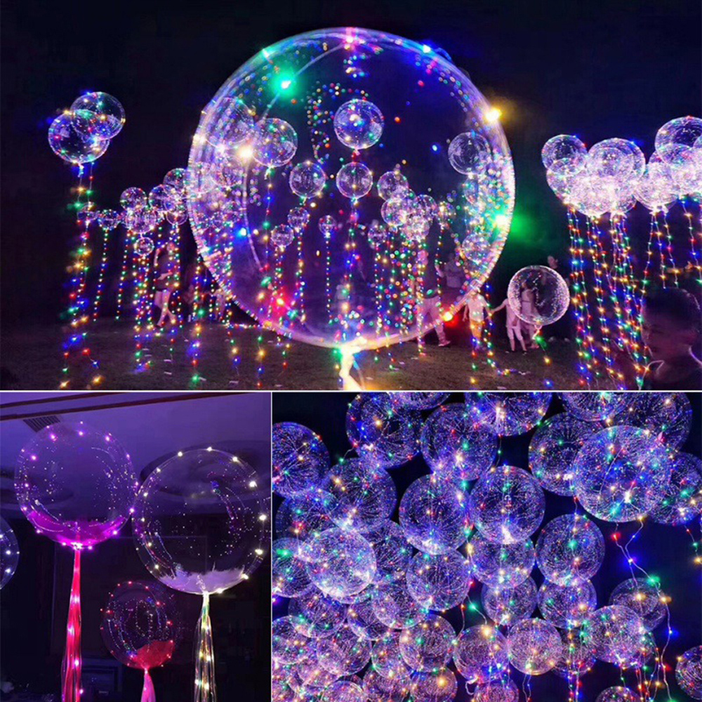 1Pack 18 Inch Clear Latex Balloon With Led Strip 3M Copper Wire Luminous Led Balloons For Wedding Decorations Birthday Party D30