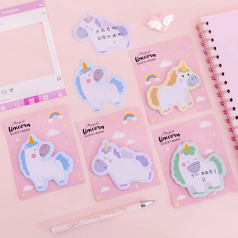 Mohamm Pink Unicorn Notebook Memo Pad Sticky Note Lovely Cartoon Dream Stationery