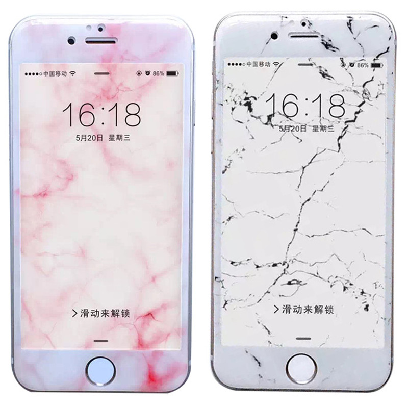 Luxury Marble Tempered Glass For IPhone 7 8 Plus Full Screen Protection For IPhone 6 6S Soft Edge Film Protective Case Class