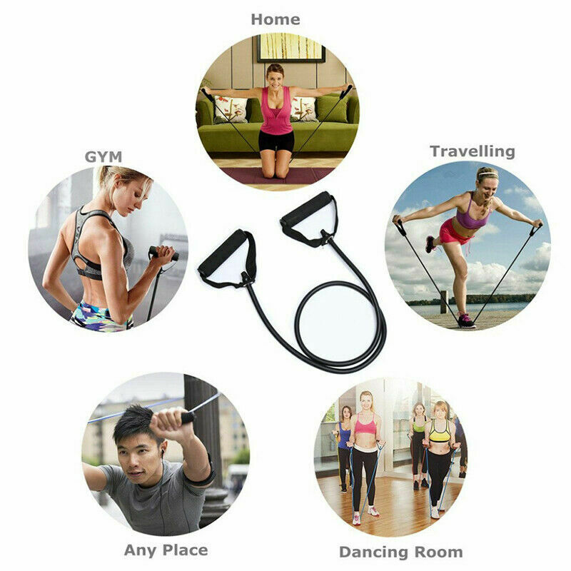 120cm 5 Levels Yoga Pull Rope Resistance Bands TPE Elastic With Handles Fitness Exercise Gym Home