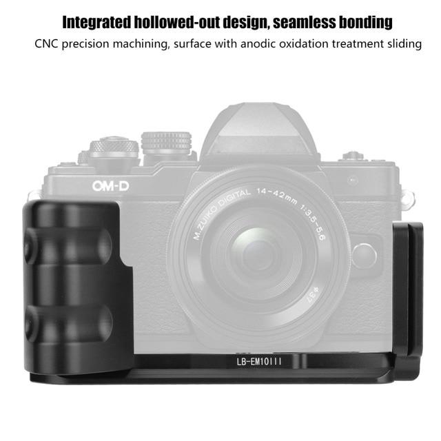 Aperto vertical do suporte da câmera em forma de l do qr da liberação rápida durável para câmeras de olympus em10 iii