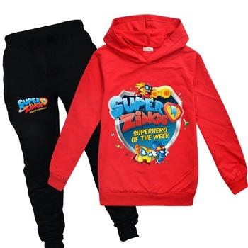 Nowe zestawy ubrań dla dzieci Cartoon Super Zings Boy bluzy + spodnie z kapturem ubrania dla dzieci dla dziewczynek SuperZings ubrania dla dzieci tanie i dobre opinie Moda Swetry COTTON Unisex Pełna REGULAR Pasuje prawda na wymiar weź swój normalny rozmiar Płaszcz