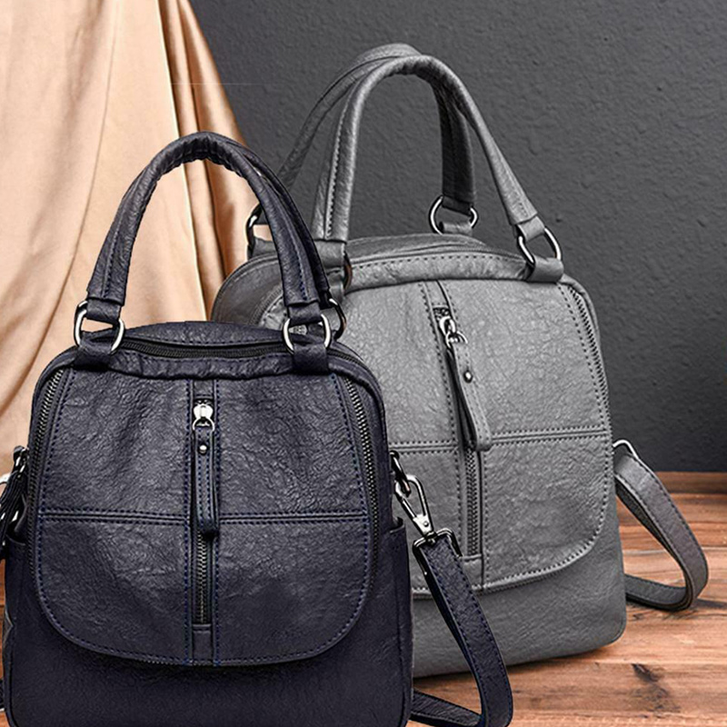 PU Leather Multipurpose <font><b>Backpack</b></font> Shoulder Bag Zipper for Mobile Phone Keys Travel HSJ88 image
