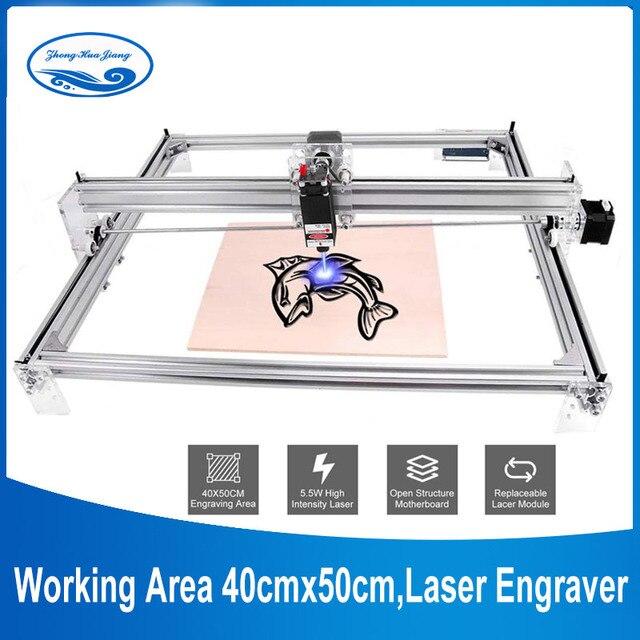 Área de trabalho 40cm x 50cm,2500mw/5500mw/15w máquina do cnc do laser, desktop diy máquina de gravura a laser violeta diy mini impressora a laser