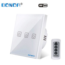 BONDA EU standard wall switch crystal glass panel remote control light switch 1Gang 1Way black light display touch switch AC220V