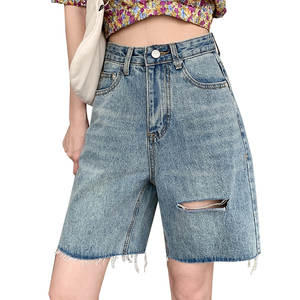 Ripped Jeans Chain Light Sexy High-Waisted Summer Women's Washed with Link Tassel Ornament