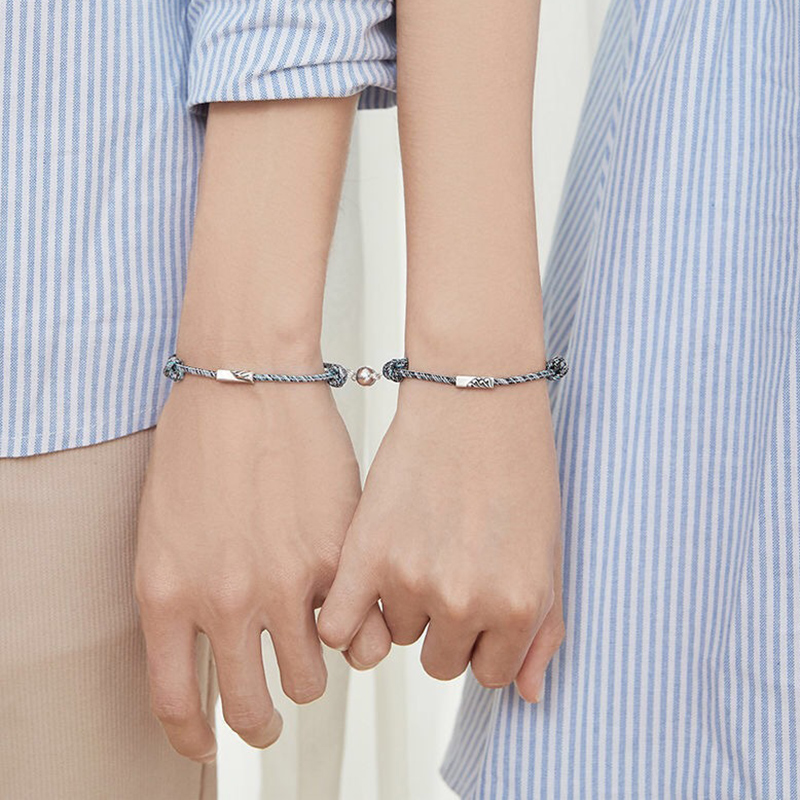 2 шт пара браслет символ любви дружбы Веревка плетеная расстояние магнитное ювелирное изделие для любовника друзья сестры H9