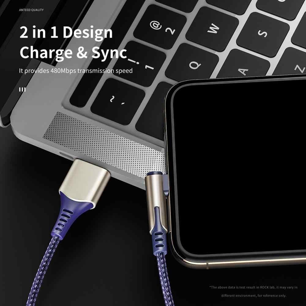 Rock M1 90 Gradi Cavo Usb per Il Iphone Xs Max Xr X 8 7 6 6 S 5 5S ipad Veloce di Carico Del Caricatore Del Cavo Adattatore di Cavo di Dati Del Telefono Mobile Cavo